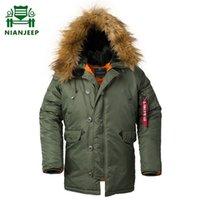 2020 Kış N3B Puffer Ceket Erkekler Uzun Kanada Coat Fur Hood Sıcak Hendek Kamuflaj Taktik Bombacı Ordu Kore Parkası