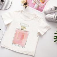 Vogue Enfants T-shirt d'été à manches courtes T-shirt garçon drôle de fleur et le modèle de parfum d'impression des vêtements blancs Hauts Mignon fille de bande dessinée