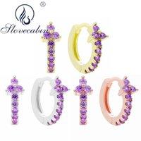 HOOP Huggie Slovecabin Pave 925 Sterling Argent Cristal Clover Huggies Boucles d'oreilles pour femmes Vintage Perçage Cadeau