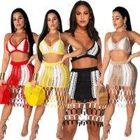 Щитовая рука связали Пляж 2PCS платье Моды Тонкого Sexy Женской одежду Женских Дизайнерские Двухкусочные наборы