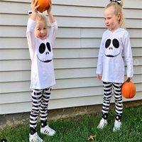 Halloween 2 pièces Pyjama Ensemble Chemisier Haut à capuche T-shirt Pantalon rayé Bébés filles Survêtements Tenues Mode Vêtements décontractés Enfant LY917