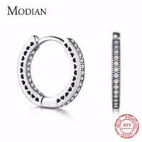 Kadınlar Düğün Hediyesi 200924 için Modian Gerçek 925 Gümüş Klasik Tam Kalpler Hoop Küpeler Lüks Taşlı Moda Takı