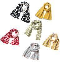 Kids Boys Girls Winter Warm Knitted Long Scarf Vintage Leopard Neck Wrap Shawl