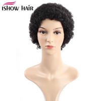 İshow Düz Kısa Peruk Brezilyalı Virgin Saç Kinky Kıvırcık İnsan Saç Peruk Bebek Saçın 8inch İsviçre Dantel ile