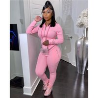 2 Piece Set Women Zipper Hooded Sweatshirt Sport Joggers Wor...