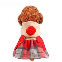 الأصفر الكلب الملابس مع قبعة عيد الميلاد الكلب ملابس فساتين الدافئة الخريف والشتاء نمط جديد إلك التنورة عطلة أسلوب للحيوانات الاليفة.
