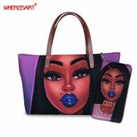 WHEREISART Black Girls Magic Afro African Pattern Women Handbag with Purse Female Beach Bags Fashion Large Tote Girls Hand Bag
