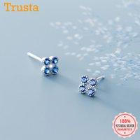 Trustdavis Real 925 Sterling Silver Fashion Sweet Flower Blue CZ Charm Stud Earrings For Women Wednesday Party Jewelry DA1557