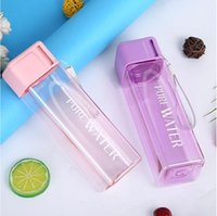 Rectangle Clear Plastic Mugs Pure Water Printed Hanging Ropes Tea Cup Muti Color Single Layer Home Outdoors Office 2 3tn G2