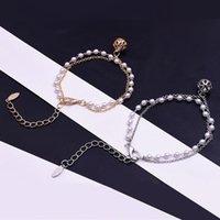Arbeiten Sie Charme-Armband-Armbänder Weinlese-Double-Layer-Simulierte Perlen-Korn-Armband für Frauen-Mädchen-Kristallball-Schmuck-Geschenk
