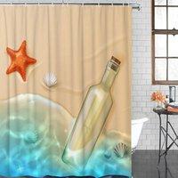샤워 커튼 욕실 방수 커튼 해변 드리프트 병 불가사리 쉘 패브릭 홈 장식 크리스마스