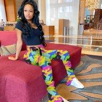 Мода Famale Леггинсы Брюки женские повседневные брюки Женщины Камуфляж штабелях Sweatpants Slim Fit Mid талии Split