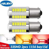 ASLENT 1156 BA15S P21W 1157 P21 / 5W BAY15D Super Bright 33 SMD 5630 LED diurna carro luz de freio auto correndo parada Lâmpadas 12V