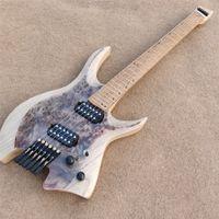 Vicers Headless Guitar 6 Strängar Elektrisk gitarr Fäste FRET ALDER BODY QUTED MAPLE ROSTED NUE FREE SHIPPING