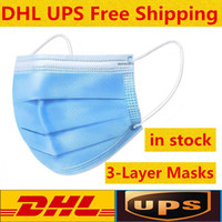 На складе Бесплатная доставка DHL Маски одноразовые лица с Elastic Ear Loop 3 слойный дышащий для блокировки маски пыли воздуха для предотвращения загрязнения