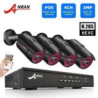 نظام CCTV 3MP 4ch Poe نظام مراقبة IP كاميرات أطقم الرؤية الليلية كيت كيت في الهواء الطلق مراقبة الفيديو أنران
