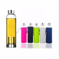 زجاجة SEMISUN 22oz زجاج المياه BPA إنترنت عالي الحرارة مقاومة زجاجة زجاج المياه الرياضة مع تصفية الشاي المساعد على التحلل زجاجة نايلون كم