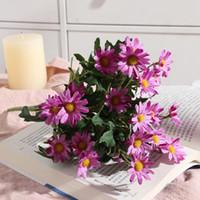 Дейзи цветы Искусственные цветы Свадебные Свадьба Букет Таблица украшения Шелковый цветок + пластик Bunch Поддельный Daisy Flowe