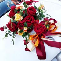 Dekoratif Çiçekler Çelenk 1 adet Düğün Araba Dekor Ipek U / V Şekli Sahte Gül Garland Centerpieces Çelenk Parti Sevgililer Günü