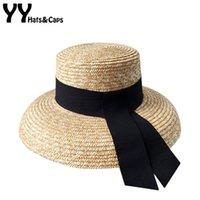 YY Retro Bucket Frauen-Sommer-Sonnenhut, breite Rand-Strand CAP Eleganter Straw Masken-Hut mit schwarzem Band Gorro Playa yy19001