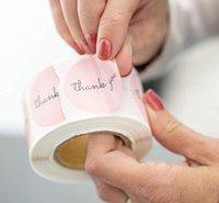 500pcs / rotolo rotondo rosa grazie adesivi 1 pollici per bomboniere e partito adesivi fatti a mano in busta Seal cartoleria adesivo