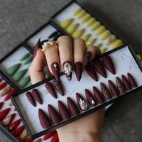 SALÃO LONG Stiletto Borgonha Falso Nails Crystal Café Glitter Falso Unhas Full Set Press Na Caixa Personalizada 24 Pcs