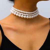 Las mujeres forman Gargantillas Collares nuevo colgante elegante de la perla Collares señoras de la tarde del partido de Calle Gargantillas Accesorios Declaración de joyería
