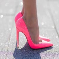 Moda Mulheres Vermelhas De Fundo Alto Salto Alto Sandálias Sapatos Preto Boca rasa Fina Salto Fine Wedding Toe Wedding Wedding Classic Stiletto Bomba lindo cores