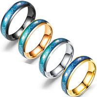 Großhandelsringe koreanische Version EKG-Paar-Ring-Edelstahl-Herzschlag Männer Frauen Paar Ring Titan Stahl Temperatur die Farbe wechseln Ring