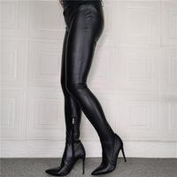 Ботинки комбинезон женщины черные бедра высокие брюки клубная вечеринка показать на колене промежность женщины женщина ботины муджера
