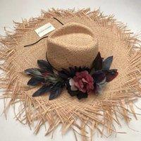 ZJBECHAHMU Moda Vintage florais chapéus de sol para praia Mulheres cap verão viseira exterior férias de praia chapéu de proteção solar dobrável