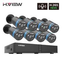 أنظمة H.View H.265 8CH 4MP Poe CCTV نظام كاميرا الأمن المنزل مراقبة الفيديو في الهواء الطلق للماء سجل الصوت IP NVR مجموعة