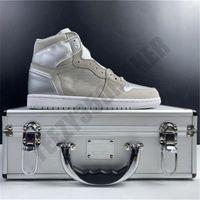 2019 1 1s Япония Баскетбол обувь Металлическая коробка кожа верхних конструктора новых людей Мода Тренажёры Спорт Кроссовки DC1788-029 Размер 7.5-13