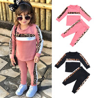 kids clothes girls outfits children Leopard Long sleeve tops+pants 2pcs set Spring Autumn fashion baby Clothing Sets Z1667