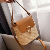 casual rattan buckets bag wicker woven women handbag travel ...