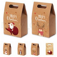 Christmas Gift Bags Vintage Kraft Paper Apples Candy Case Party Gift Xmas Santa Snowman Hand Bag Wrapped Package Decorations RRA3551