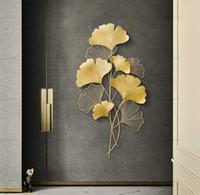 Moda cinese ferro arte ginkgo parete appeso creativo soggiorno portico sfondo decorazione della parete decorazioni in metallo appeso pendente artigianale