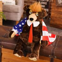 62cm Donald Trump Bär mit Flag Plüschtier Triver USA Präsident Teddybären-Sammlung ausgestopfte Puppe Spielzeug-Geschenk für Kinder Boy Spiel