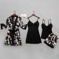 꽃 파자마 세트 여름 2020 잠옷 여성 새틴 잠옷 란제리 Pijama Mujer을위한 섹시한 V 넥 실크 잠옷