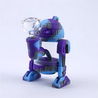 물 담뱃대 토네이도 봉 실리콘 분리형 현대 로봇 디자인 물 봉 케이스 케이스 상자 포장과 유리 흡연 파이프입니다.