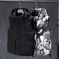Kış Erkekler Artı Boyutu 6XL 7XL Parka Yelek Yelek Hoodie Kamuflaj Kolsuz Ceketler Sıcak