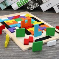 Tangram Rompicapo Puzzle Giocattoli Tetris prescolare Magination intellettuale educativi di legno variopinto del giocattolo del capretto