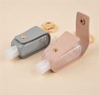 Sacchetto della copertura del cuoio del supporto 30ML Hand Sanitizer Bottle PU con clip 2PCS tasto Set bottiglie di profumo catena D9202 Protable Viaggi portachiavi manica