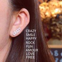 Bolzen S925 Sterling Silber Zirkon Mono Brief Amour Smile Rock Crazy Baby Frei Wild Spaß glücklich Liebe Ohrring Frauen Schmuck