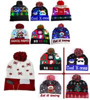 مهرجانات عيد الميلاد LED للجنسين محبوك قبعة عصرية مضيئة فلاش قبعات سانتا كلوز ثلج الرنة الأيل قبعات الكروشيه القبعات بيني D9908