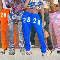 Atacado 5 cor das mulheres da forma calças sweatpants casuais carta bordados calças S-XXL T205
