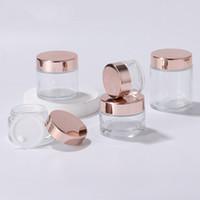 جديد واضح الزجاج جرة كريم زجاجات جولة التجميل الجرار اليد كريم الوجه زجاجة مع ROSE GOLD CAP 5G - 100G HHC2046