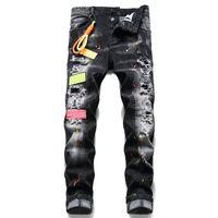 Badge Hommes Rips Stretch Jeans noir Fashion Slim Fit Washed Denim Pantalons Motocycle Pantalons Hip Cassettes HOP Homme 1070