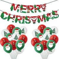 Noel Süslemeleri Noel Baba Balon Setleri Noel Şişme Lateks Balonlar Set Merry Christmas Noel Ağacı Kağıt Banner Balon LY924