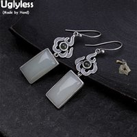 Uglyless Real 925 Sterling Silver Handmade Fire Earrings for Women Exotic Thai Silver Fine Jewelry Square Jade Brincos Bijoux